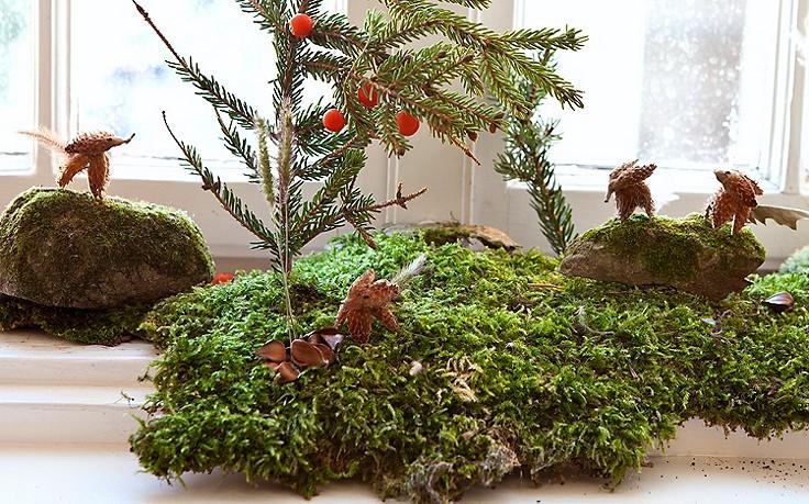 Basteln mit Kindern: kleine Füchse aus Baumschalen
