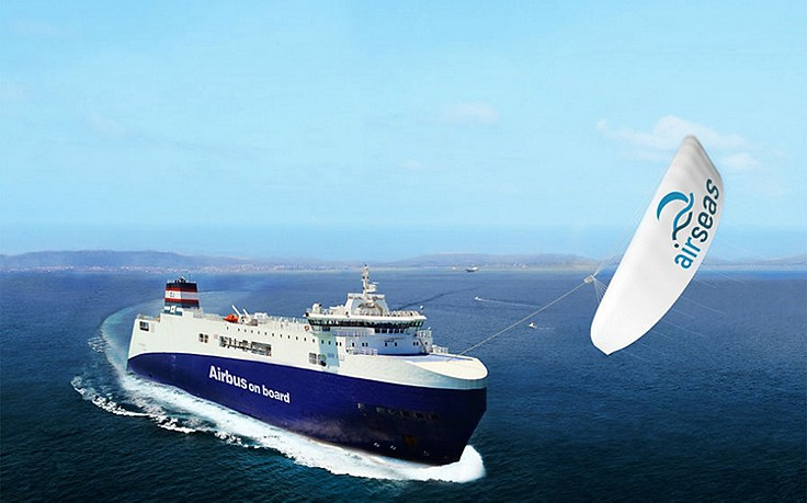 1000 Quadratmeter großes Kite-Segel soll Frachtschiffe umweltfreundlich machen