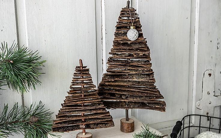3 Deko-Stücke aus Baumrinde