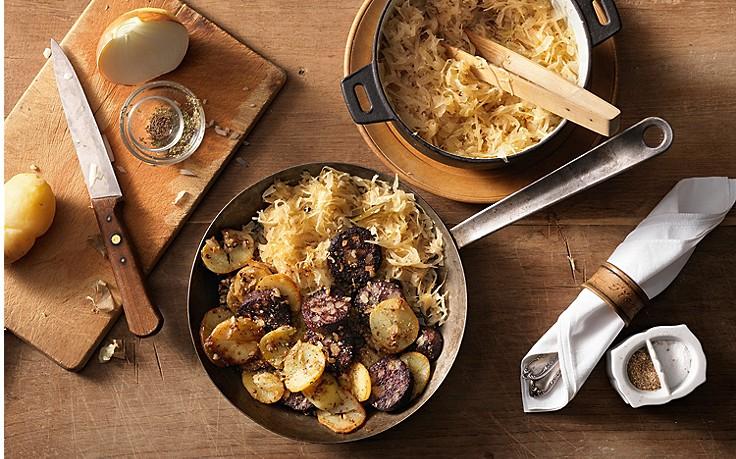 Blunzengröstl mit Sauerkraut