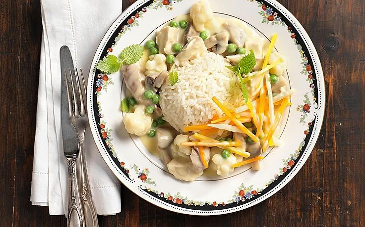 Hühner-Geschnetzeltes mit Reis