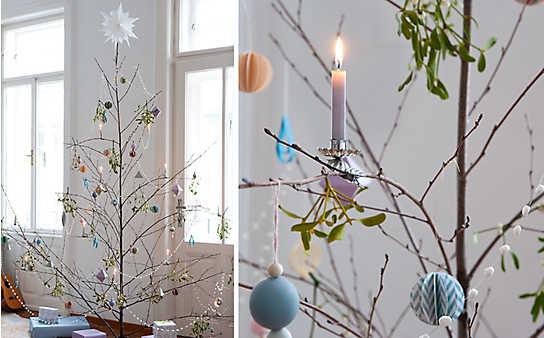 Basteln im Advent: winterlicher Papierschmuck für Zweige