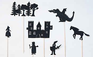 Motiv-Vorlagen für ein Ritter-Schattenspiel
