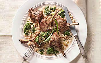 Lammkoteletts mit weißen Bohnen und Bärlauchcreme
