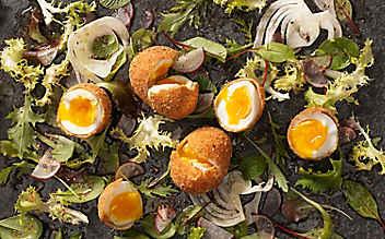 Gebackenes Ei auf Blattsalat