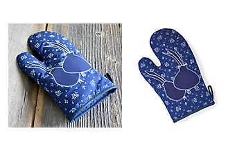 Blaudruck-Kochhandschuh