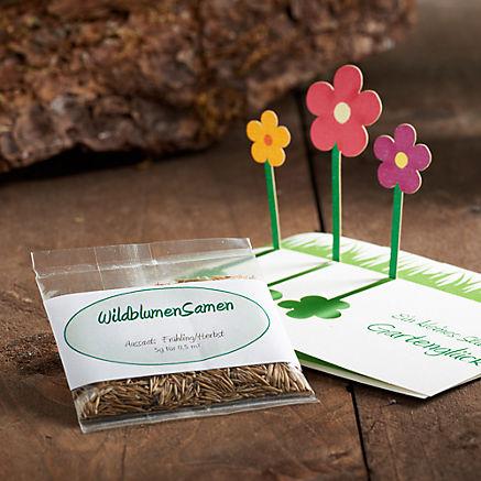 Blumensamen in Geschenkkarte