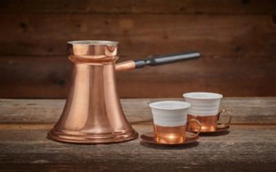 Mokka-Set aus Kupfer