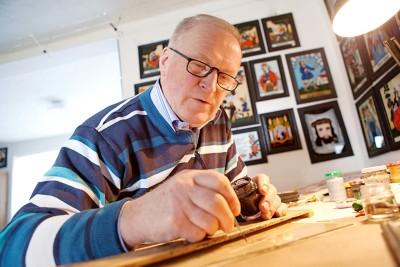 Hinterglasmalerei Hubertus